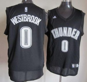 Thunder #0 Russell Westbrook Black White Stitched NBA Jersey